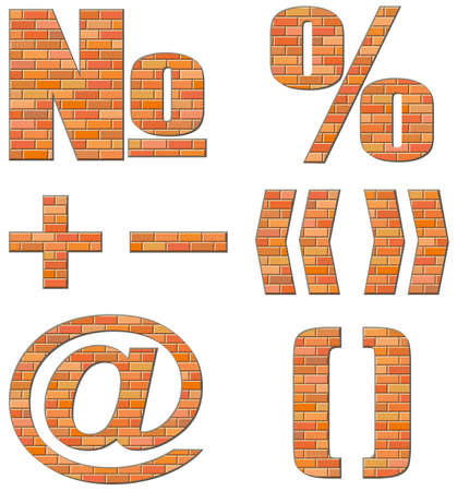 Vector font build out of red bricks. Signs and symbols isolated on white background Ilustração