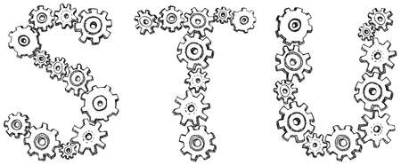 Vector alphabet of cheerful caricature hand-drawn characters consisting of spinning gears. Letters G, H, I isolated on white background