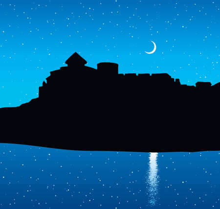 Eastern Belgorod urban country view. Arabic romantic rock wall royal palace ruin on hill scene at calm ocean bay. Dark black drawn aged picture in art past retro style on blue nighttime place for text Illusztráció