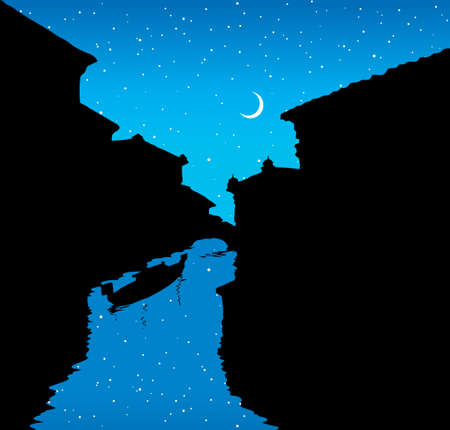 Aged romantic scene coast downtown scenic urban view blue twilight evening starry nighttime text space. Hand drawn tradition veneto outdoor exterior journey road scenery icon symbol in art retro style Иллюстрация