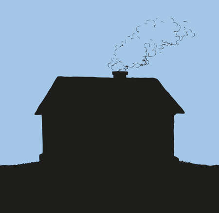 Cute cozy hut with wooden casement and galvanized housetop of tube whith thick smoke. Monochrome black ink drawn background sketchy in engraving style with space for text on night sky