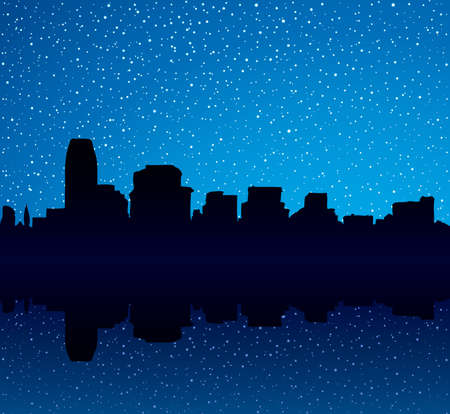 Panorama of waterfront street of multistory business center of midtown NY harbor. Dark picture backdrop in art style with space for text on blue gloaming crepuscule starry heaven. Modern scenic view