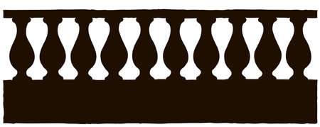 Abstract romantic classic outdoor elegant row element: carving newel bannister on old parapet isolated on white. Ink hand drawn backdrop sketchy in art engraving style pen on paper