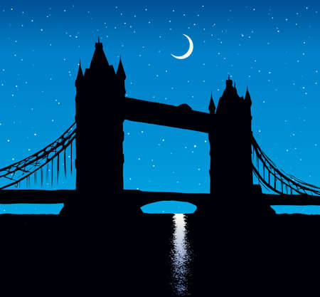 Romantic gothic old suspension bridgework place with copyspace for text on blue nightfall starry sky backdrop. Gloaming scenic urban view. Dark ink hand drawn picture logo in art retro print style Illusztráció