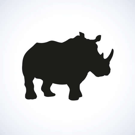 Rino is powerful huge herbivorous mammal isolated on white background. Black ink hand drawn image sketch in art retro style pen on paper. Side view with space for text