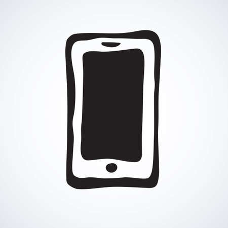 Blank lcd pc talk touchphone on white backdrop. Data wifi sms app concept. Freehand line black ink hand drawn mobilephone emblem sketchy in art modern doodle style pen on paper and space for text