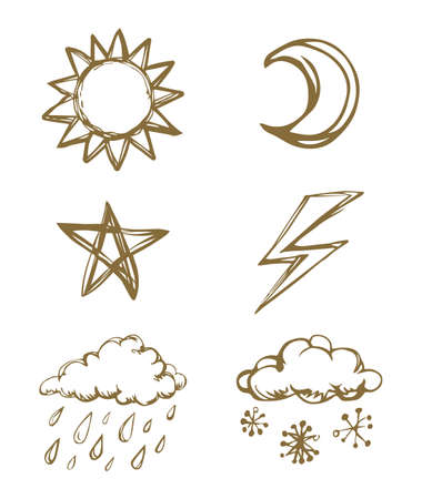 Simple cute air gloomy Heaven element template on light backdrop. Freehand linear black ink hand drawn picture emblem sketchy in art retro scribble comic graphic style pen on paper with space for text Stock Illustratie