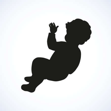 Tiny babe isolated on white backdrop. Dark ink hand drawn image sketchy in art retro engraving style. Closeup view with space for text
