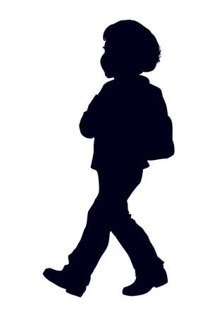 Cute little boy goes to school with backpack isolated on white backdrop. Freehand outline black ink hand drawn picture sketchy in art retro engraving style. Closeup view with space for text