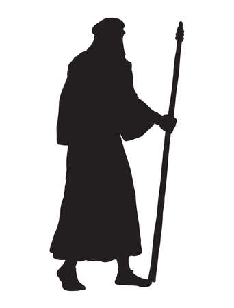 Adult bearded wanderer go to worship with old stick in antiquity middle east judaic biblical apparel: shemagh, robe, thobe. Dark black ink hand drawn picture icon in art vintage engraving style 向量圖像