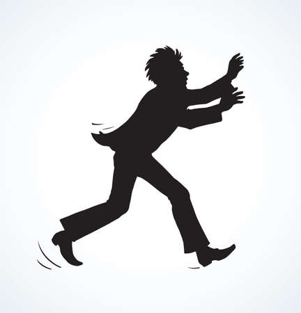 Healthy young crazy happy office boss guy quick flying runaway over. Black ink hand drawn cute mad fit human body sprint jump panic logo sign in retro contour comic art style on white space for text Logo