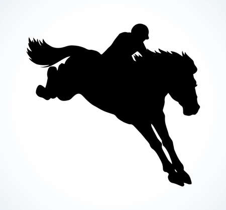White fast rear up athlete arabian courser on paddock space for text. Dark derby bet sign icon. Black ink hand drawn bay mammal pet gelding club logo in retro art vector contour engrave print style