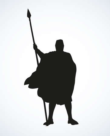 Brave strong noble armor swordsman king in hauberk with aged long lance isolated on white background. Dark ink hand drawn picture sketch in art retro symbol style with space for text