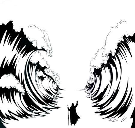 Belief israeli male human leader staff stick stand back view slavery escape go. Vintage israelite art graphic line hand drawn cartoon sketch sky. Big ocean storm separate pesach seder law wonder scene 向量圖像