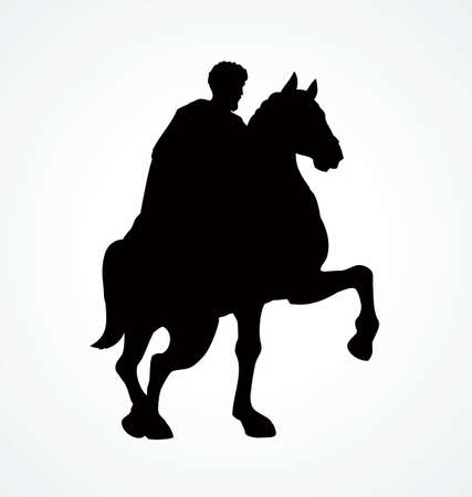 Past war figure of Marc Aurelio in Roma, Italy, Europe. Walking horsemen. Dark ink hand drawn picture emblem in retro print style with space for text on white sky background