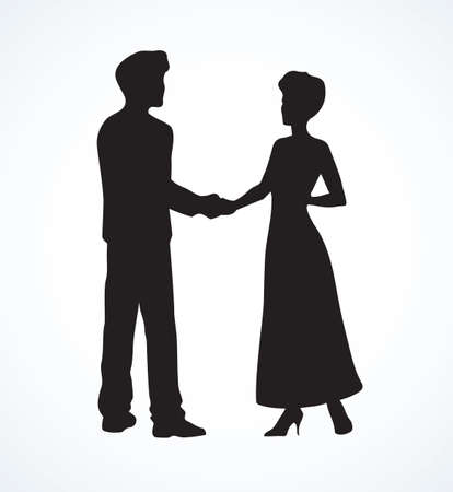 Handclasp espousal greeting of two adult guy and lass in long dress talk standing on white background. Dark ink drawn picture logo in retro graphic print style with space for text