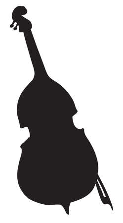 Double Bass with bow isolated on white background. Freehand black outline ink hand drawn picture sketchy in art retro style pen on paper. Closeup view with space for text