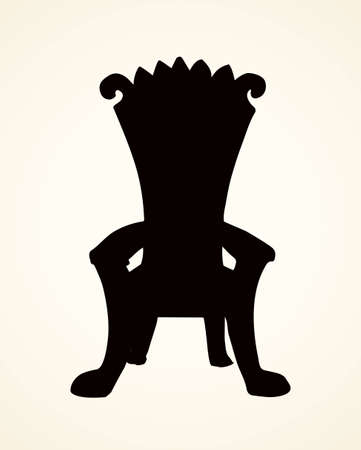 Classic fashion palace lux exquisite sit arm stool design on white background. Dark black ink hand drawn emblem sketchy in art retro contour engraving print graphic style. Closeup front view with space for text