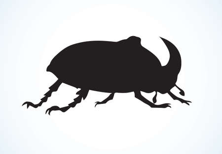 Ð¡ute giant crawly dynastinae on light backdrop. Dark ink hand drawn insecta shell logotype emblem insignia in retro art contour etching style on paper space for text. Closeup side view