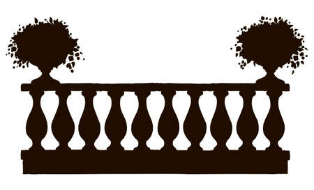 Romantic classic outdoor elegant carving newel bannister with bloom petunia in old bowl on luxury patio with space for text on sky. Freehand black ink hand drawn picture background sketch in art engraving style