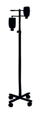 Dropper remedy iv supply system pole chamber device aqueous dextrose blood aid bag support isolated on white background. Dark black ink hand drawn symbol logo emblem in art retro contour print style Ilustração