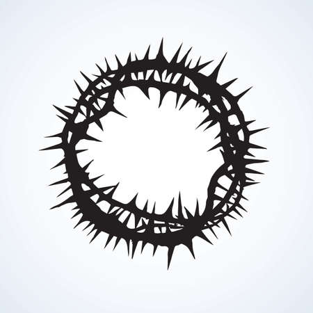 Old circle wreath with sharp spikes for redeemer head isolated on white backdrop. Dark black ink hand drawn object sign sketch in art engraving retro style. Closeup view with space for text Ilustrace