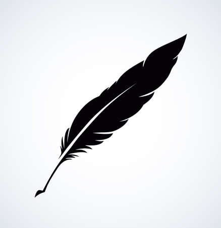 Goose feather isolated on white paper backdrop with space for text. Hand drawn picture sketch in artistic engraving style 向量圖像