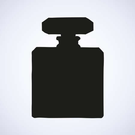Romantic stylish square female odour make spirit flask isolated on light white backdrop. Black ink hand drawn sketch in art retro engraving style pen on paper. Close-up view with space for text on tag Ilustrace