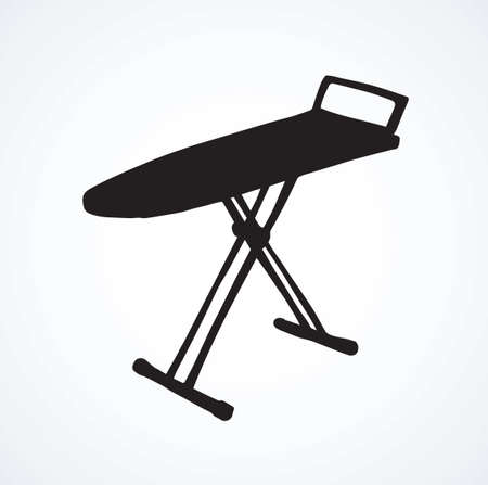 Modern single empty table for garment ironing on white backdrop. Dark black ink hand drawn collapsible object logotype emblem in art retro contour engraved print style. Isometric view with space for text
