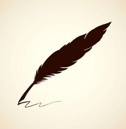 Aged luxury goose feather isolated on white paper backdrop card. Dark black hand drawn picture sketchy in artsy etching contour print ancient style. Closeup view