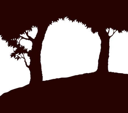 Shadow of two old oaks on wide glade field isolated on white backdrop. Dark ink hand drawn picture in art retro print style with space for text on evening sky