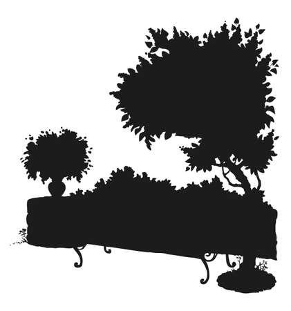 Cozy old seat on sidewalk at fence isolated on white backdrop. Black ink hand drawn picture sketchy in art graphic style pen on paper with space for text on sky