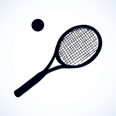 Squash stretched circle net racetball league gear set isolated on white background. Black ink hand drawn picture sketchy in art retro engraving style pen on paper. Closeup view