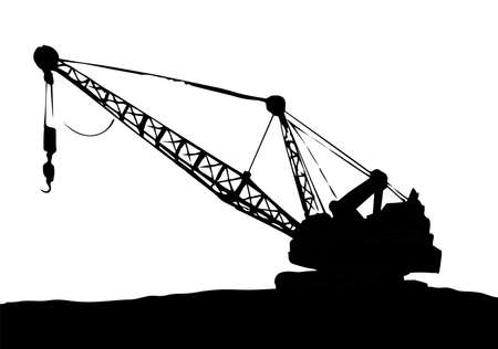 Huge iron bulldozer truck. White sky text space. Line black ink hand drawn big carbon soil lignite dredger giant tractor plant factory sign in modern art doodle sketch cartoon graphic print style Vecteurs