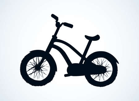 Going simple bicycle isolated on white background. Side view. Dark black ink hand drawn journey way emblem pictogram in contour art engraved print style on paper space for text