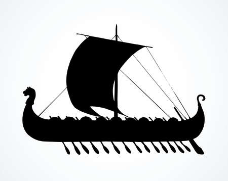 Archaic past century wood oar galleon for merchant trading or colonization isolated on white background. Dark ink hand drawn   icon sign symbol symbol sketch in art retro graphic gravure style