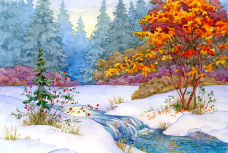 Watercolor landscape. In the forest, the first snow fell
