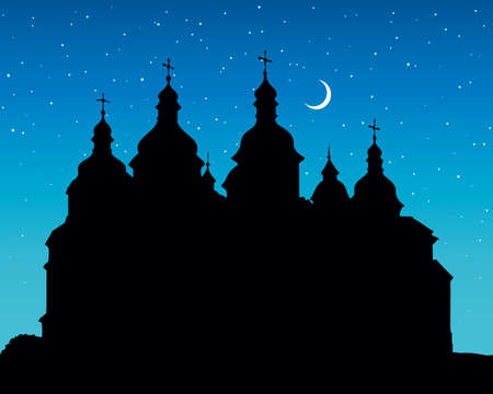 Saint Sofia Sobor medieval edifice in famous Kyiv downtown and space for text on dark blue nighttime starry backdrop. Eastern orthodoxy culture. Hand drawn picture in art retro engraving graphic style