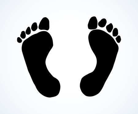 Naked flatfoot emblem on white backdrop. Freehand outline black ink hand drawn healthcare pictogram sketchy in retro art scribble contour graphic style pen on paper space for text. Closeup top view