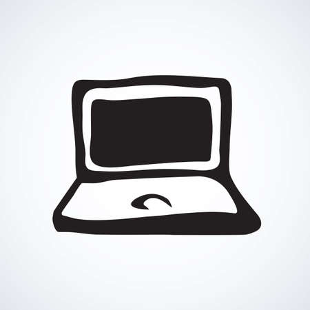 Open mobile blank MacBook on white backdrop. Item data app concept. Freehand linear black ink hand drawn picture emblem sketchy in art modern scribble cartoon style pen on paper with space for text Vecteurs