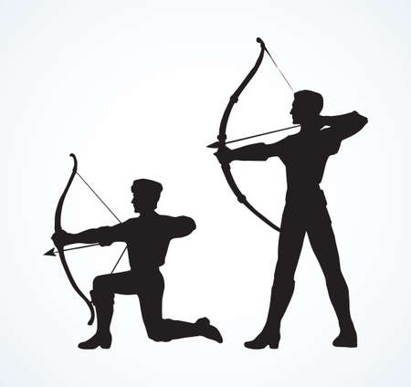 Athletic power shooter boy figure stand on knee with longbow on white backdrop. Illustration