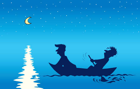 2 candid guy figure trip in old small wooden ski skiff on night blue lake background. Dark black color drawn moon star picture in art retro contour print style. Side view text space on evening dusk
