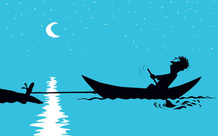 Strength male figure struggle push oar kayak isolated on river background. Hand drawn incorrect goal infinite labor sea travel symbol sketch in art retro doodle comic style with space for text on sky