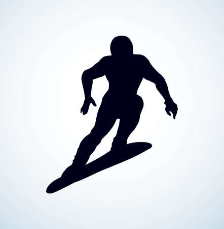Young fast sporty fun healthy male person figure on light white ice alp mountain background. 向量圖像