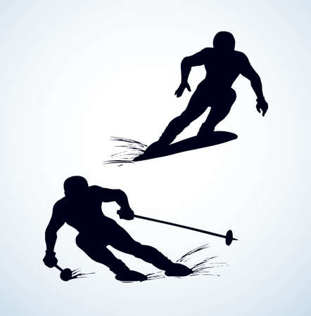 Young fast sporty fun healthy male person figure on light white ice alp mountain background.