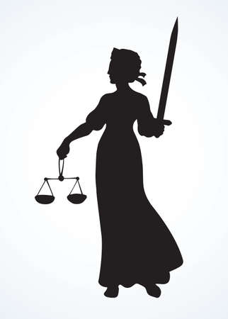 Blind fair justitia lady figure on white courtroom paper background. Old classic civil jail Femida female statue pictogram. 일러스트
