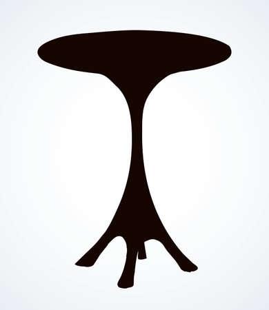 Cute aged circular curve carve shape stylish leg base pencil object. Outline black ink pen hand drawn  pictogram emblem. Ancient art doodle print on light paper text space backdrop. Close up view