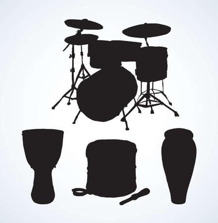 Bid rough pop drum set crash base on white backdrop. Dark black ink drawn national african darbuka reggae tomtom   pictogram emblem in artistic retro contour engraved print style with space for text