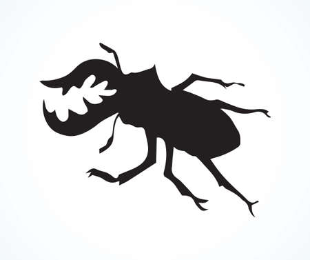 Big cute crawly lucanid stag beetle on light backdrop. Freehand dark outline ink hand drawn insect