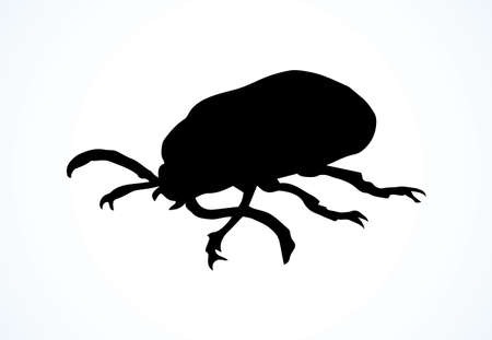 Big cute crawly coriarius prionus on light backdrop. Dark ink hand drawn insects logotype emblem insignia in retro art etching print style on paper space for text. Close up side detail view